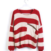 Red White Striped Pocket Bat Long Sleeve Sweater