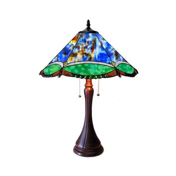 "Amphitrite Tiffany-Style 2 Light Victorian Table Lamp 17"" Shade"