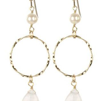 Twisted Wire Ring Natural Stone Charm Pearl Earrings