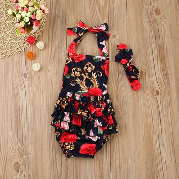 Baby Rompers Ruffled Flower romper set Girl Baby Costumes Set Kids 2017 Summer Cute Baby Romper newborn baby clothes