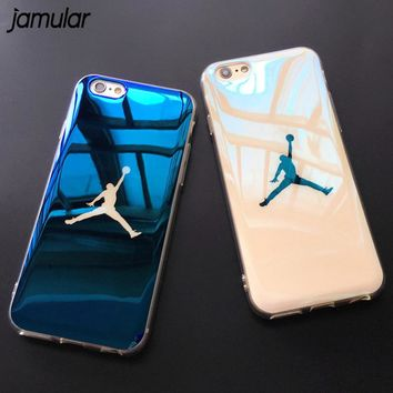 JAMULAR Flyman Jordan Case Cover for iPhone 7 6 6s Sport Basketball Blue-ray Soft Rubber Case for iphone X 8 7 Plus Protective