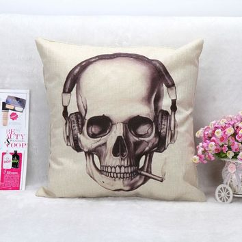 45cm Stylish Skull Cotton Flax Vintage Mexican Men Sugar Skull Throw Pillow Case Cool Bar Halloween Pillow Covers Pillowcase
