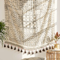 Besso Textured Fringe Tapestry   Urban Outfitters