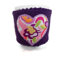 Cup Cozy with Flower Heart