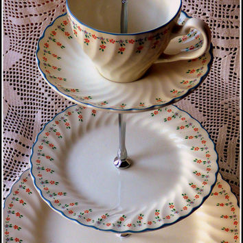 "Three tier cake stand, handmade using vintage Johnson Brothers ""Dreamland"" pattern set of plates, ""Alice in Wonderland"" style tea party chic"