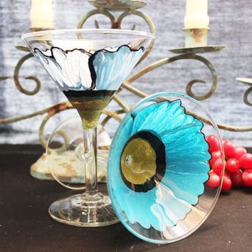 Wild Poppy Painted Martini Glasses, Hand painted Flowers,
