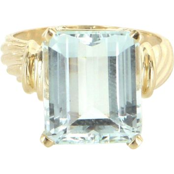 Vintage Aquamarine 14 Karat Yellow Gold Cocktail Ring Estate Pre Owned Jewelry 5