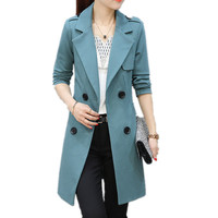 Double Breasted Trench Coat Women Ladies Casual Style Slim Fit Lapel Collar Button Mid Length Female Outwear with Pockets XH010