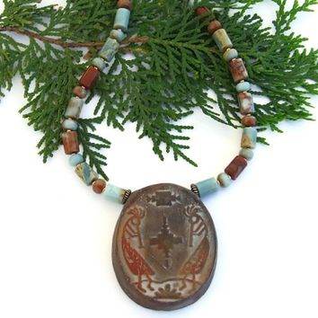 Kokopelli Southwest Necklace, Handmade Artisan Jasper Gemstone Jewelry