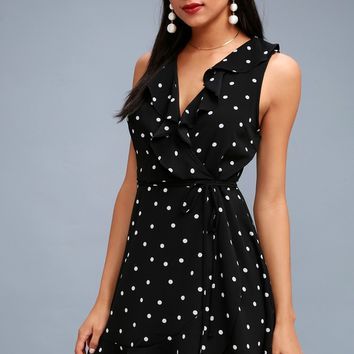 Nightlife Black Polka Dot Wrap Dress