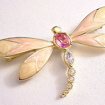 Pink Crystal Dragonfly KJL Pin Brooch Gold Vintage Avon 1990 Orange Beige Marbled Pearl Wings Faceted Marquis Graduated Round Tail Stones