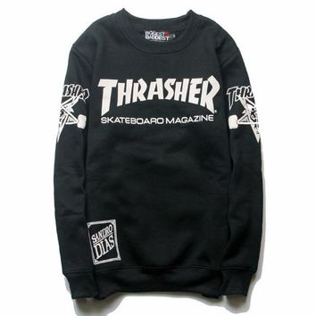 DCCK7XP Black Thrasher Magazine Flame Round Neck Sweatershirt Pullover