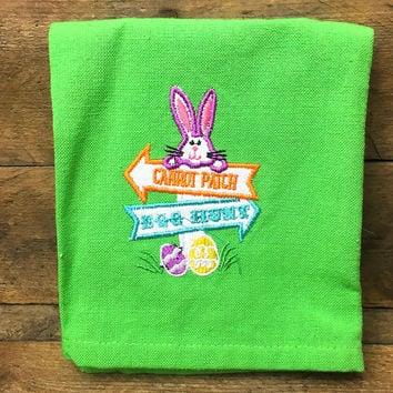"Easter Hand Towel ""Carrot Patch"" and ""Egg Hunt"" Bunny Signs"