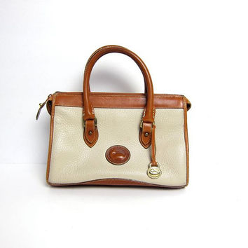20% Off SALE vintage DOONEY and BOURKE purse. Authentic leather handbag. Cream Brown Preppy Pebbled Purse. Hand Purse. Top Handle Bag.