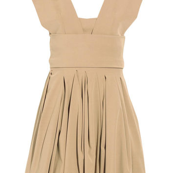 Preen Structured Beige Stretch Twill Audrey Dress / Sz S