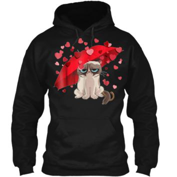 Grumpy Cat Raining Hearts Valentine's Day Graphic  Pullover Hoodie 8 oz