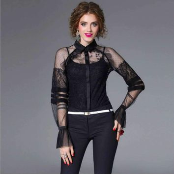 Womens Lace Blouses Perspective Ruffles Shirts Flare Sleeves Top Shirt