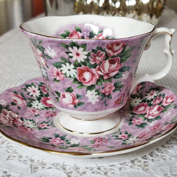 Royal Albert Garden Party Series , Gay Day, Teacup and Saucer Set, Floral Chintz China, Pink, Purple, Roses, English, 1970-80's, Excellent