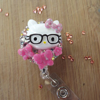 ID badge holders-Purse clips  Hello kitty Nerd Glasses Butterfly Bow & Swarovski Crystals Bling Reel Retractable Nurse RN