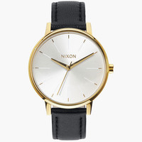 Nixon Kensington Leather Watch Gold/Black One Size For Women 25951695701
