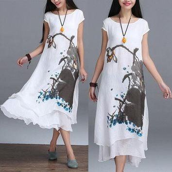 VONE2B5 2016 New Summer Chinese Style O-neck Linen Cotton Slim Dress False Two Art Print Ink Loose Casual White Maxi Work Dresses Design