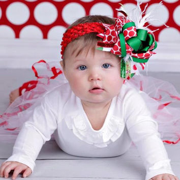 Over The Top Boutique Christmas Bow - First Christmas Bows- Red Green White Bow with White Ostrich Feathers