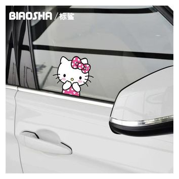 Biaosha High Quality Car Sticker KT Cat Kitty Window Decal  Cartoon Car-Styling Auto Accessories For BMW ford volkswagen toyota