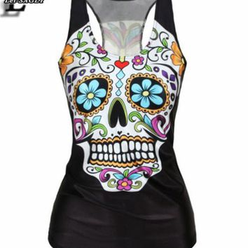 Punk Style Floral Women Sugar Skull Printing Tank Tops Sleeveless  Elastic Vest Fitness Sexy Slim Black Camisole V9
