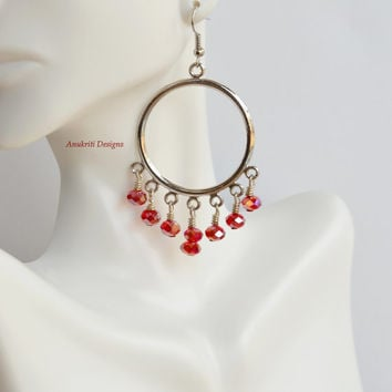 Red crystal chandelier earrings ** Free shipping to USA** Crystal earrings, crystal jewelry