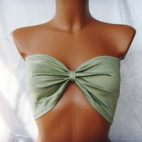 CUSTOM MADE Sexy Bandeau Yoga Sport Tube Summer Bra Strapless Top In Light KhaKI Green Bow Many Colors