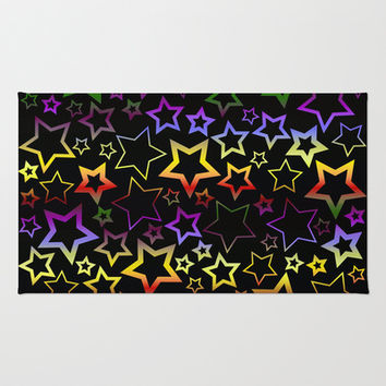 Rainbow and Black Stars Pattern Area & Throw Rug by Hippy Gift Shop