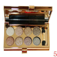 Delicate 8 Colours Sparkly Diamond Earth Tone Eye Shadow Palette with Mirror and Brush