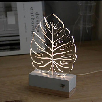 Leaf tropical monstera//nightlight // lamp 3d // nature // modern decoration // led // plexiglas // gift idea