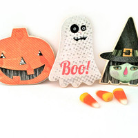 Spooky Halloween Trio Magnet Set - Orange Jack O Lantern Magnet- Magnetic White speckled Ghost and Green Witch Magnets