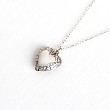 Sale - Vintage Sterling Silver Small Puffy Floral Heart Pendant Necklace - 1940s Repousse Flower Dainty Double Sided Petite Jewelry Charm