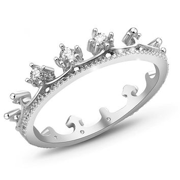 silver color rings anillo USA EURO Style Fashion Silver color crown only crown Ring