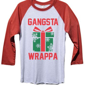 Gangsta Wrappa Funny Christmas - Unisex Baseball Tee Mens And Womens