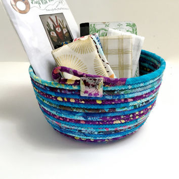 Handmade Clothesline Basket   Hand Coiled Rope  Modern Batik Fabric Bowl   Aqua and Purple Organizer - Fiber Art Decor - Upcycled Planter