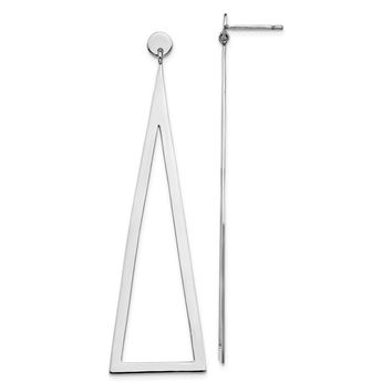 925 Sterling Silver Rhodium-plated Polished Triangle Dangle Earrings