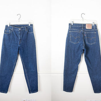 Levi's Dark Wash Denim Jeans / 1980s Levi Jeans / Dark Blue Denim / Skinny Jeans / Stretch Denim Jeans / Levi's 550 Jeans / 90s Mom Jeans