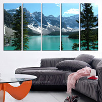 Extra Large Wall Art Canvas Print The Rockies - Moraine Lake Framed 5 Panel Canvas -  Canada Landscape Art Canvas Print - MC24