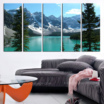 Extra Large Wall Art Canvas Print The Rockies - Moraine Lake Framed 5 Panel Canvas -  Canada Landscape Art Canvas Print