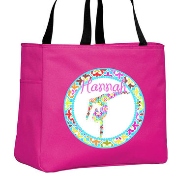 Retro Gymnast Personalized Hot Pink Tote Bag
