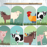 Farm Animal Gift Tags, Barn Animals Hang Tags, Farm Party Favors, Green Blue Printable Illustrated Gift Tags DIY Birthday Holiday Wrapping