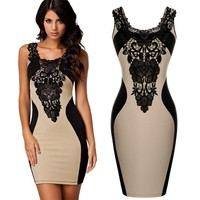 Bodycon Pencil Dress in Black and Nude