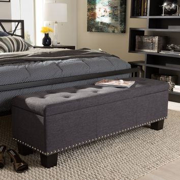 Baxton Studio Hannah Modern and Contemporary Dark Grey Fabric Upholstered Button-Tufting Storage Ottoman Bench Set of 1