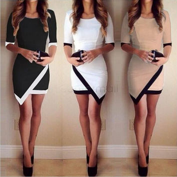 Women Fashion Half Sleeve Ladies Asymmetric Casual Dress White & Black Patchwork Elegant Dresses Bodycon Pencil Short Mini Dress party dress [9791293455]