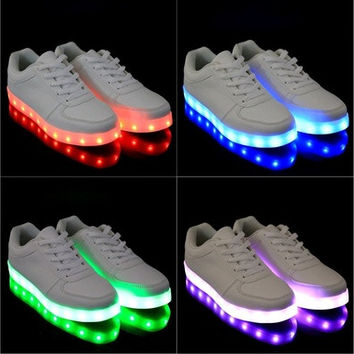 Women Men Unisex Fashion LED Light Lace Up Luminous Shoes Sportswear Sneaker Casual Shoes USB Charging [8096621639]