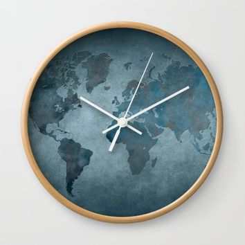 World map 6 blue Wall Clock by jbjart