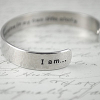 I am...The Heroine of My Life Story Secret Message Hand Stamped Cuff Bracelet Can Be Custom Quote